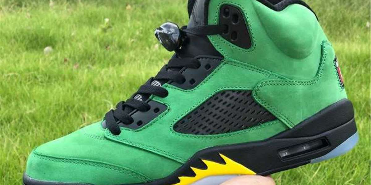 "Newest Air Jordan 5 Retro SE ""Oregon Ducks"" Apple Green Black For Cheap CK6631-307"